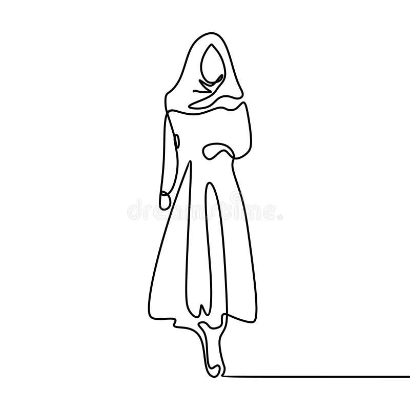 Mujeres que llevan figura musulmán continua ejemplo del dibujo lineal de la bufanda del hijab la una stock de ilustración