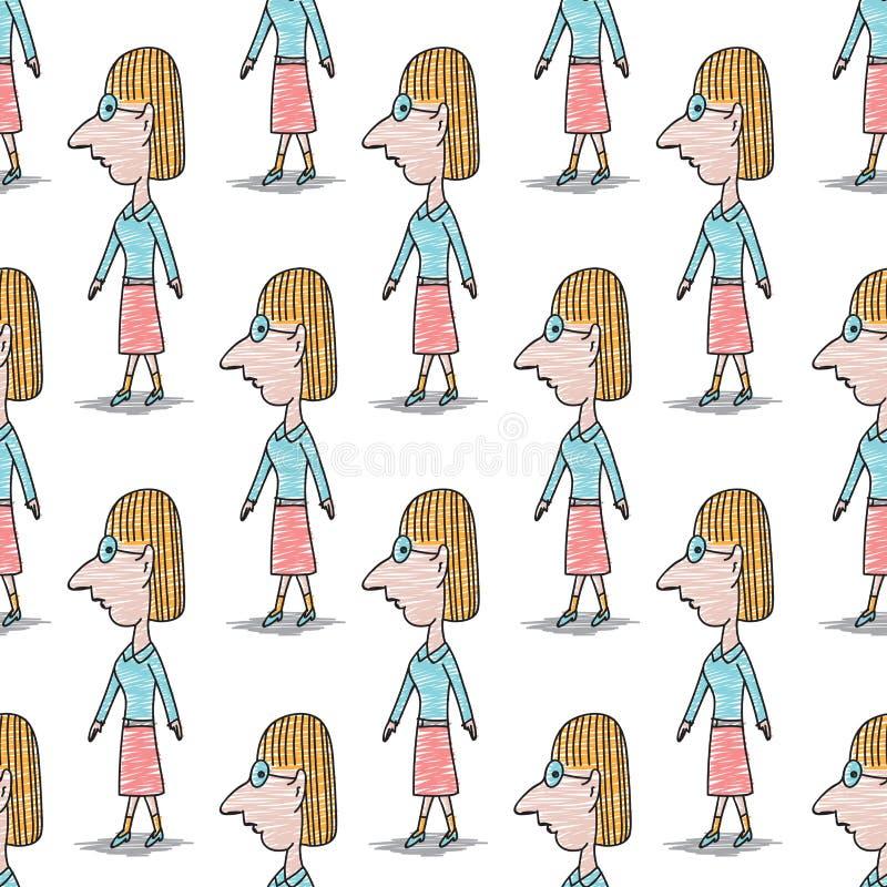 Mujeres que llevan los vidrios modelo inconsútil, historieta de la mujer del garabato, ejemplo exhausto del vector de la mano, te libre illustration
