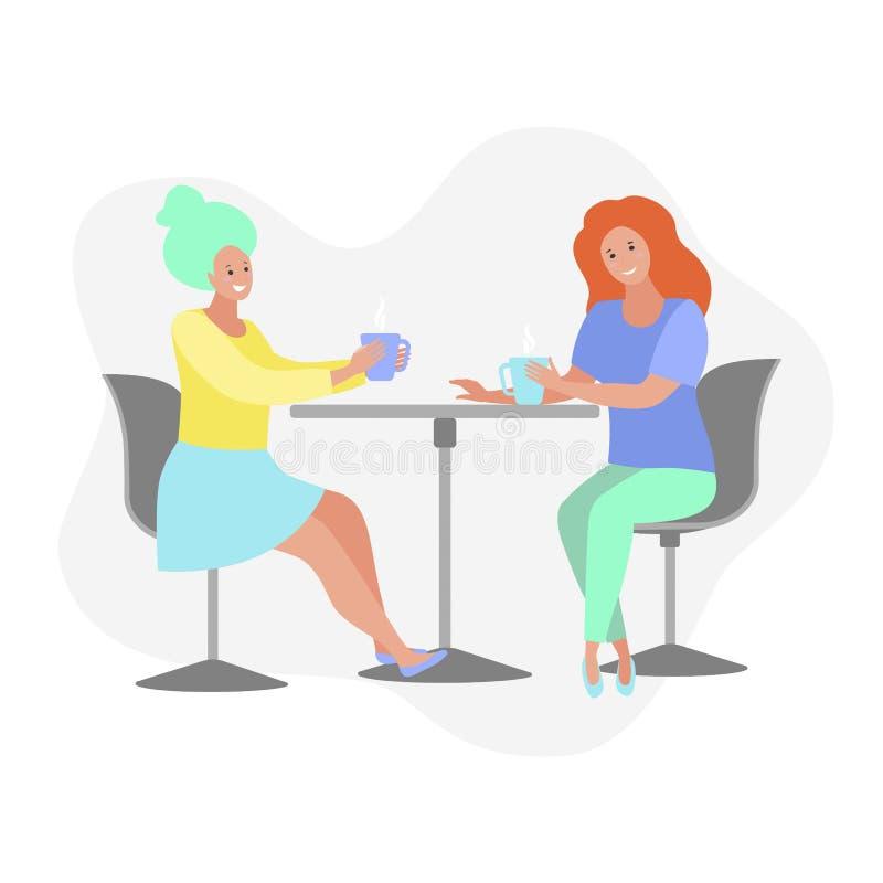 Mujeres que tienen descanso para tomar café, sentándose en la tabla, café de consumición, ejemplo plano del vector libre illustration
