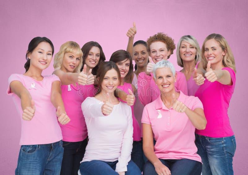 mujeres rosadas de la conciencia del cáncer de pecho ilustración del vector