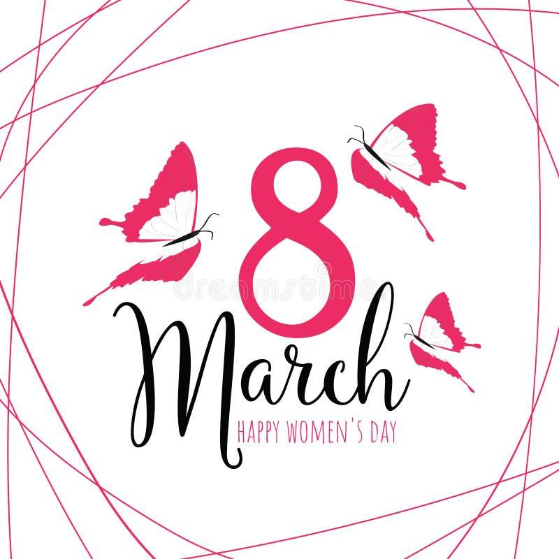 Mujeres ` s día 8 de marzo feliz stock de ilustración