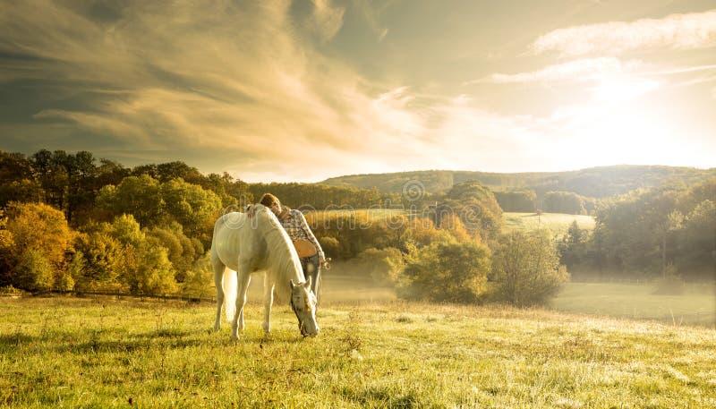 Mujeres sensuales hermosas con el caballo blanco fotografía de archivo