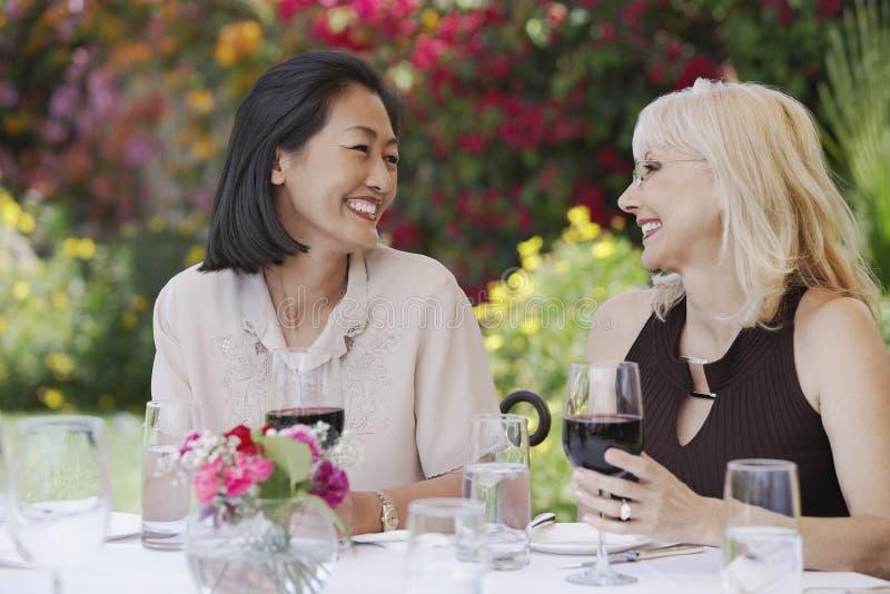 Mujeres sonrientes en la tabla al aire libre con las copas de vino imagenes de archivo