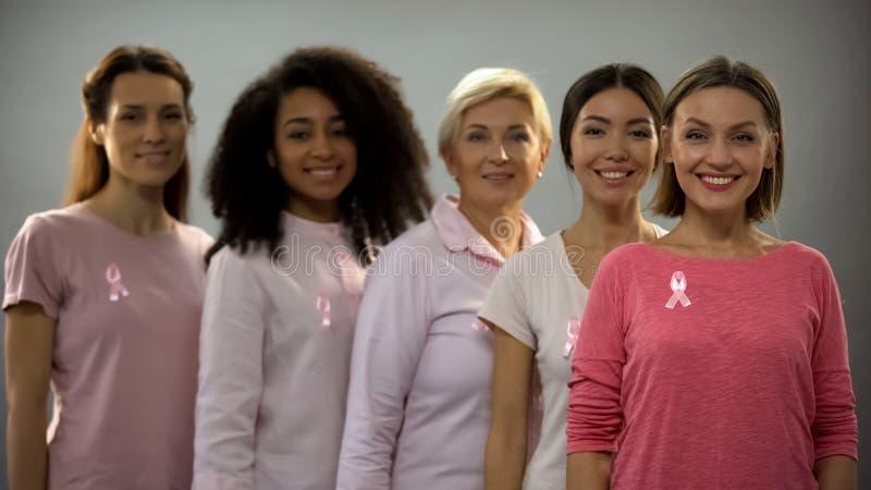 Mujeres sonrientes que llevan la ropa y las cintas rosadas, muestra de la conciencia del c?ncer de pecho imágenes de archivo libres de regalías