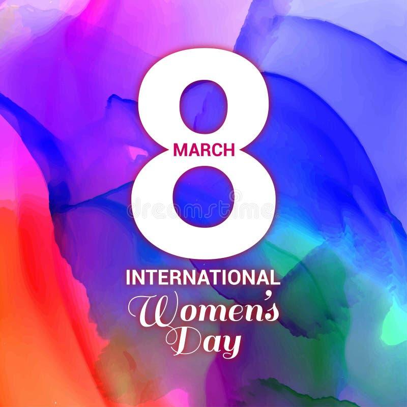 Mujeres \ 'tarjeta del día de s con vector del fondo de los multicolors ilustración del vector