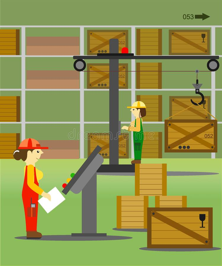 Mujeres - trabajadores en el almacén libre illustration