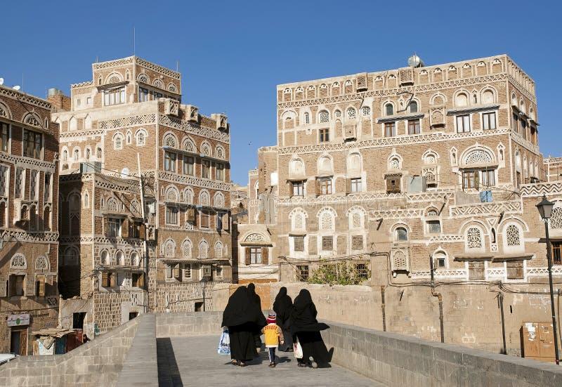 Ciudad vieja de Sanaa en Yemen imagen de archivo