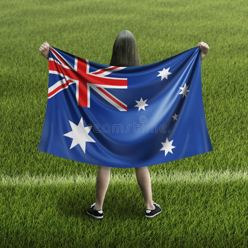Mujeres y bandera australiana stock de ilustración
