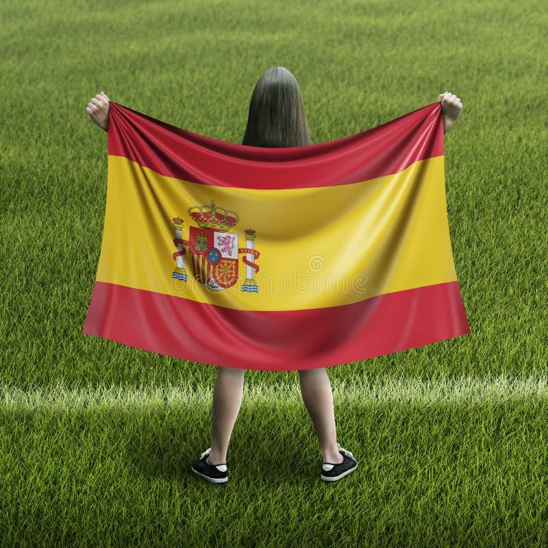 Mujeres y bandera española fotografía de archivo