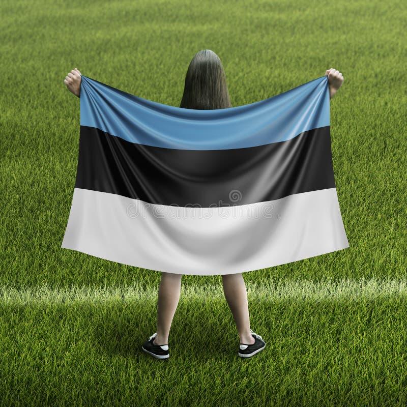 Mujeres y bandera estonia stock de ilustración