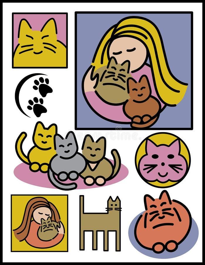 Mujeres y gatos ilustración del vector