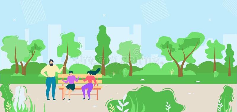 Mujeres y hombre de la historieta que hablan en el ejemplo del parque libre illustration