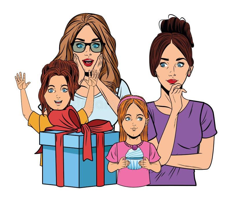 Mujeres y muchachas con la caja de regalo libre illustration