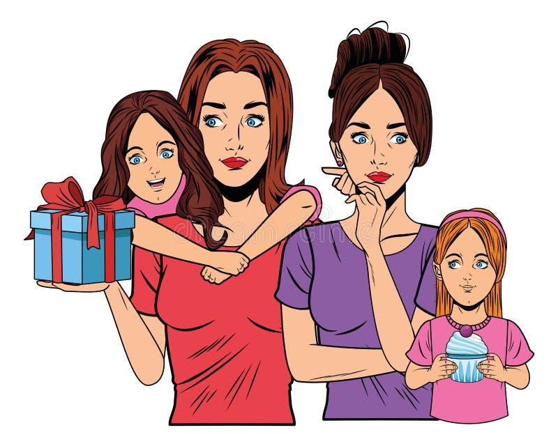 Mujeres y muchachas con la caja de regalo ilustración del vector