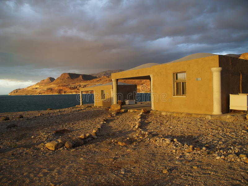 Mujib chalets. Amazing place on the coast of the dead sea stock photo