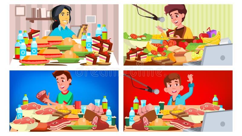 Mukbang吃展示传染媒介 女孩,人 吃展示 记录 网上现场广播亚洲社会媒介 烹调很多 向量例证