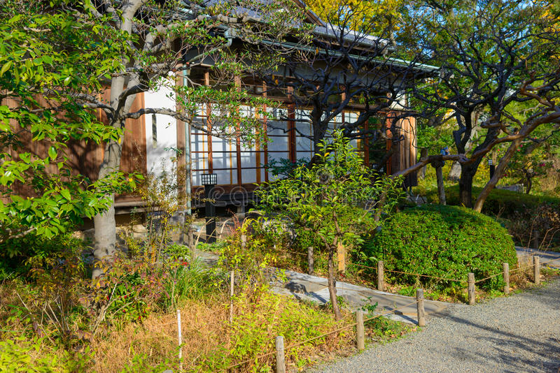Mukojima-Hyakkaen ogród w jesieni w Tokio zdjęcia stock