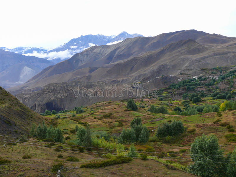 Muktinath landscape after rain, Nepal. Annapurna circuit, Muktinath valley, Nepal stock photos