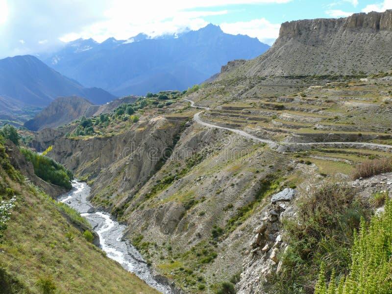Muktinath landskap, Nepal arkivbilder