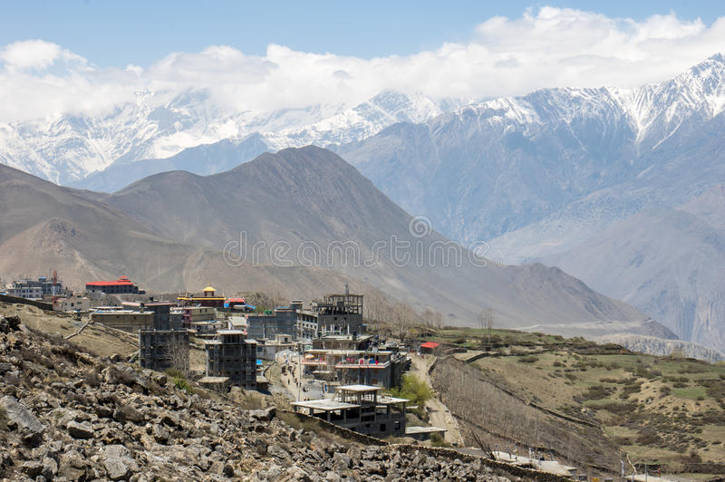 Muktinath Valley in Mustang Nepal. The Muktinath valley in Mustang Nepal with small towns and villages surrounded with high mountains royalty free stock photography