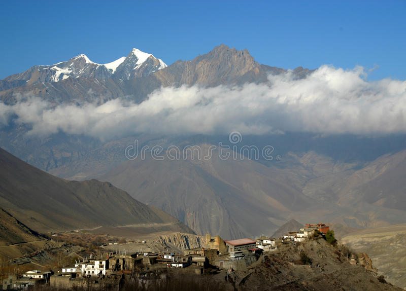 Muktinath village, Nepal. Annapurna circuit trek stock photography