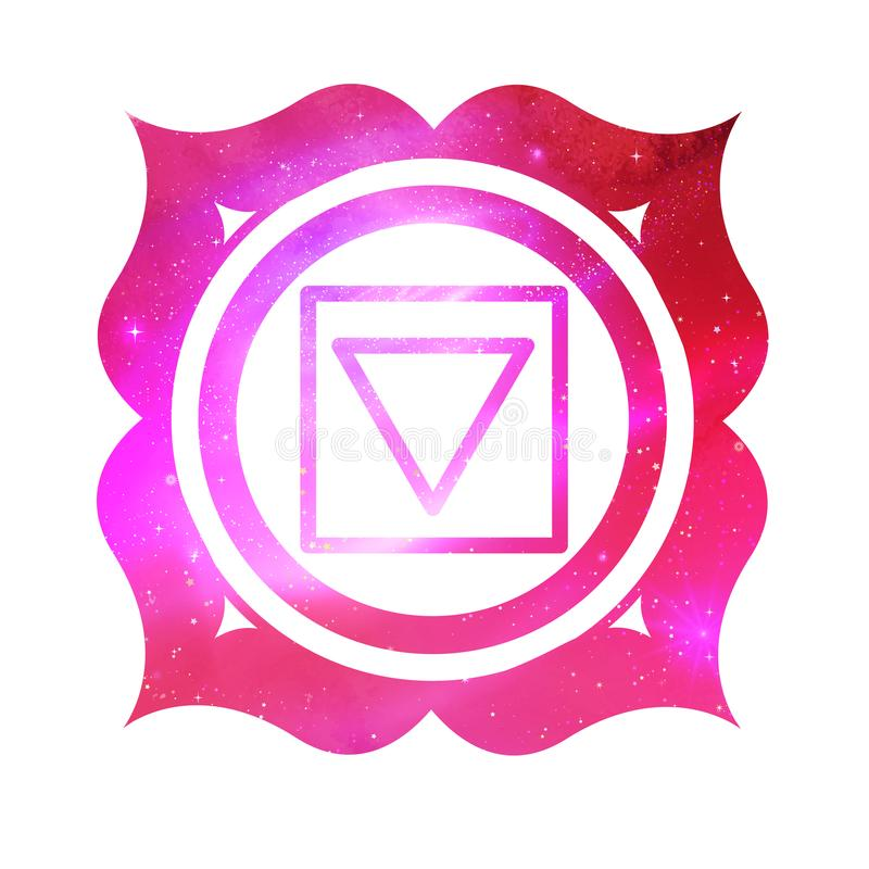 Muladhara chakra with outer space vector illustration