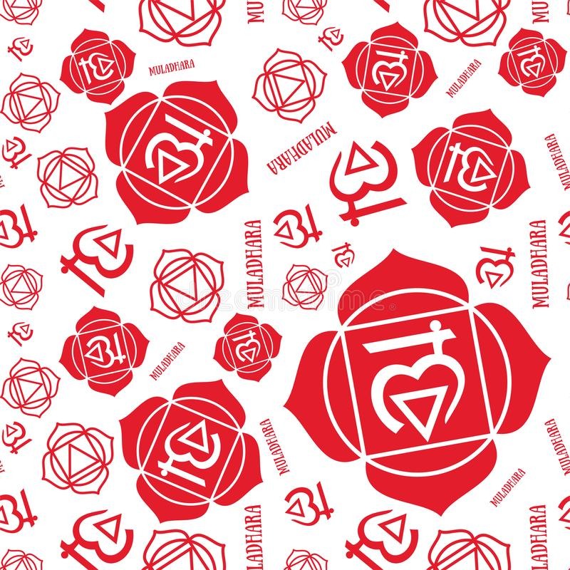 Muladhara chakra seamless pattern. Vector esoteric background. Hinduism, buddhism. Line symbol. Red color vector illustration