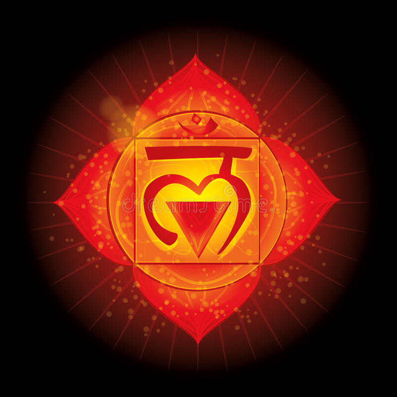 Muladhara. Glowing chakra icon . The concept of chakras used in Hinduism, Buddhism and Ayurveda. For design, stock illustration