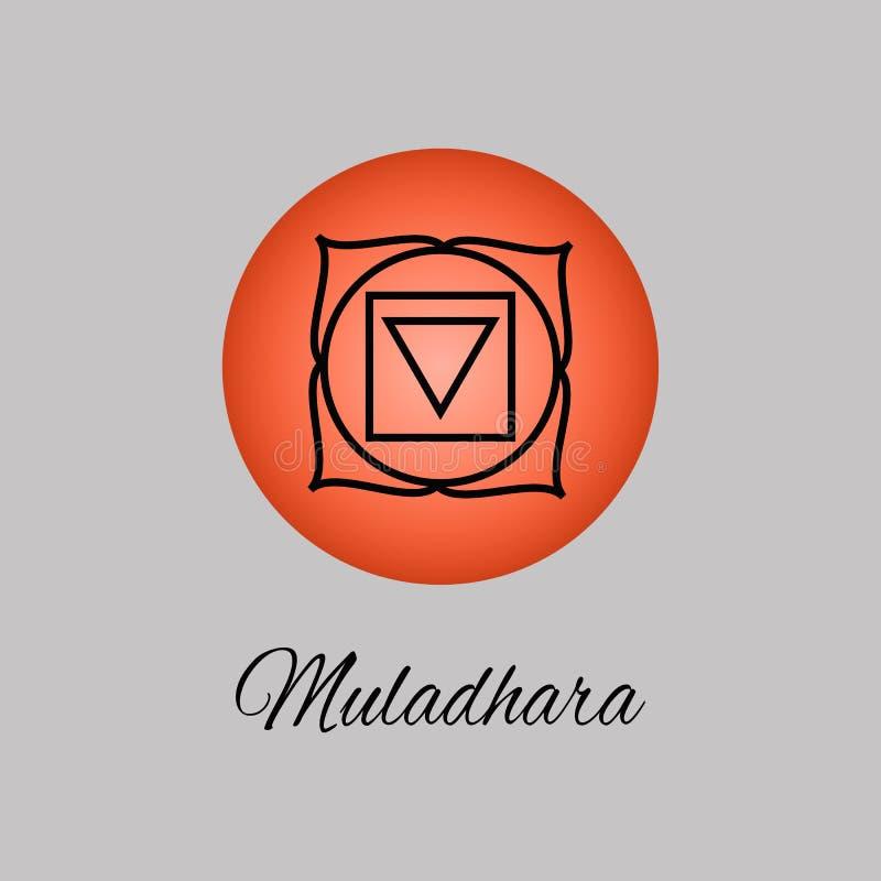 Muladhara.Root or base chakra. First Chakra symbol of human. Vector illustration. Element human energy system. Yoga,meditation,reiki and buddhism color simbol royalty free illustration