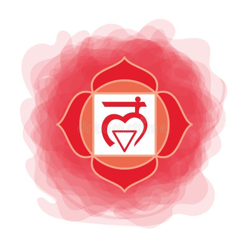 Muladharapictogram Eerste wortelchakra Vector rode rokerige cirkel Lijnsymbool Sacral teken meditatie vector illustratie