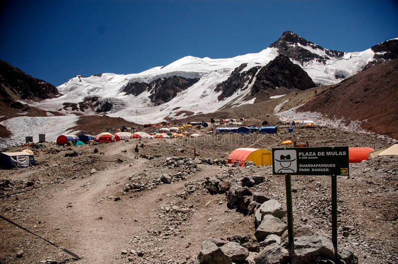 Mulas place in Aconcagua. With mountain stock photography