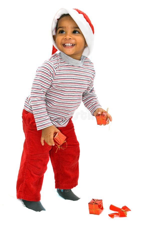 Mulatto baby on a white background stock images