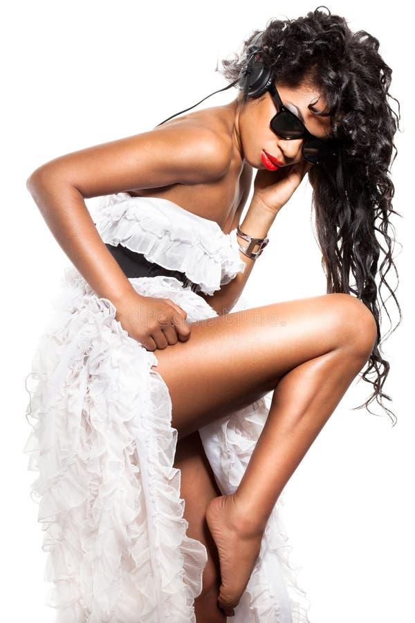 Download Mulatto girl DJ stock image. Image of model, listen, glasses - 16416513