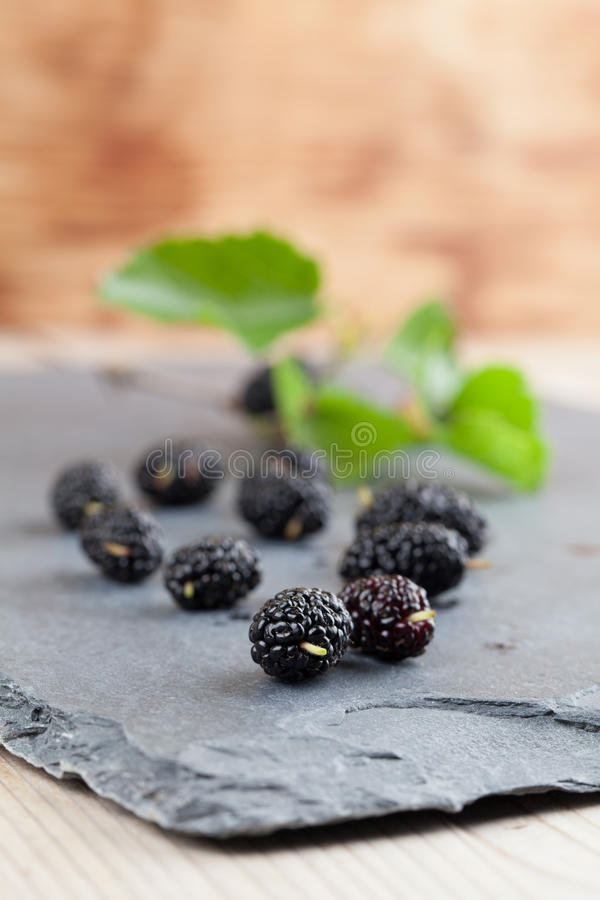 Mulberries on a slate board royalty free stock image