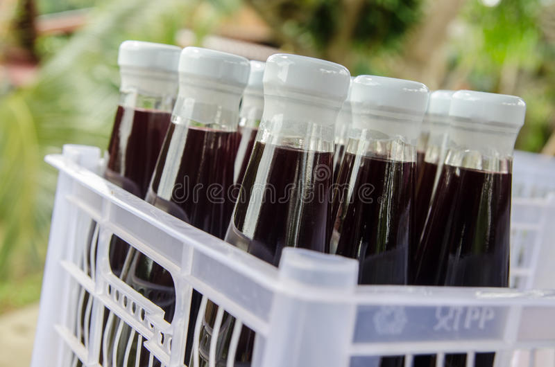 Mulberry juice in bottle beverage royalty free stock photos