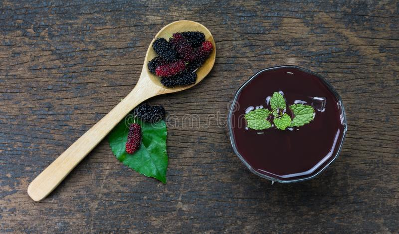 Mulberry juice with ice royalty free stock photo