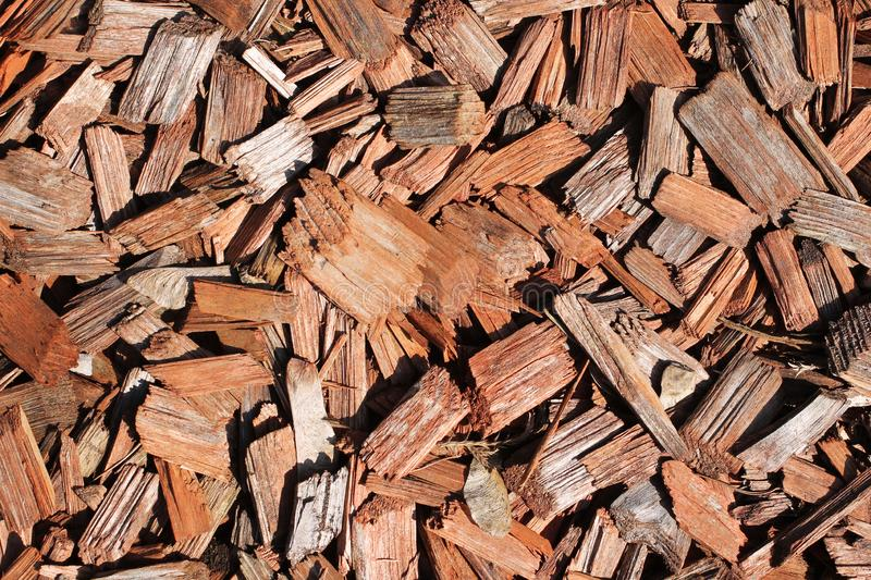 Mulch bark. Close photo of some pieces of bark for mulching royalty free stock images