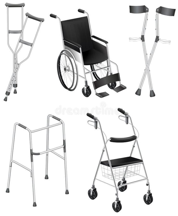 Muletas e cadeiras de rodas ilustração do vetor