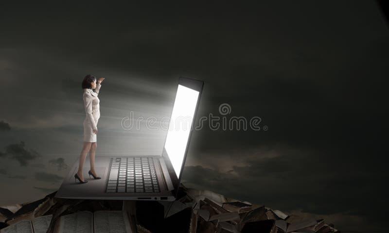 Mulher à luz da tela do portátil imagem de stock royalty free