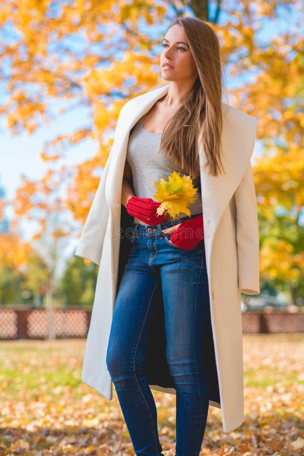 Mulher à moda na forma do outono imagens de stock royalty free
