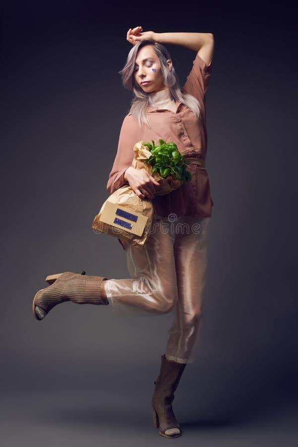 Mulher à moda no estilo do pompadour do biofuture fotos de stock