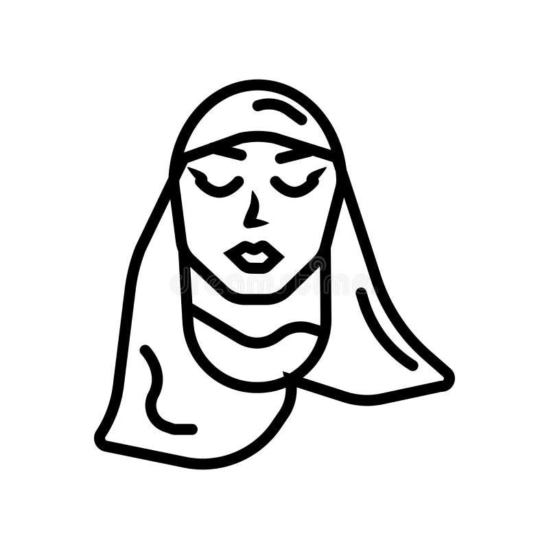 Mulher árabe com vetor do ícone de Hijab isolada no fundo branco, mulher árabe com sinal de Hijab ilustração do vetor