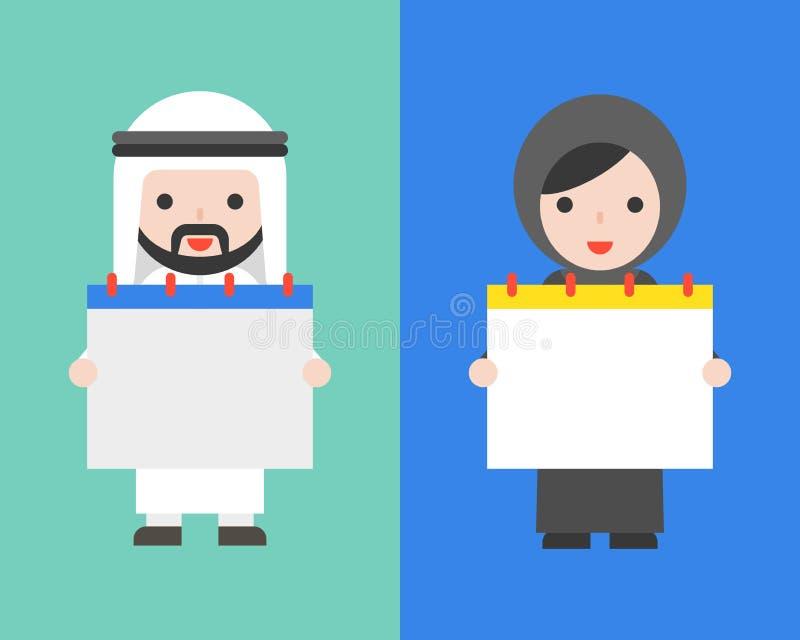 Mulher árabe do homem de negócios e do árabe que guarda o calendário vazio ilustração do vetor