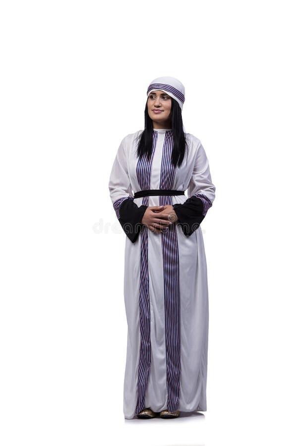 A mulher árabe isolada no fundo branco fotografia de stock