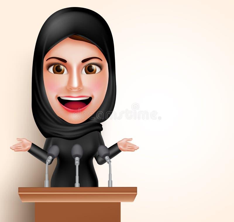 Mulher árabe muçulmana que fala no microfone na frente da conferência para político ilustração royalty free