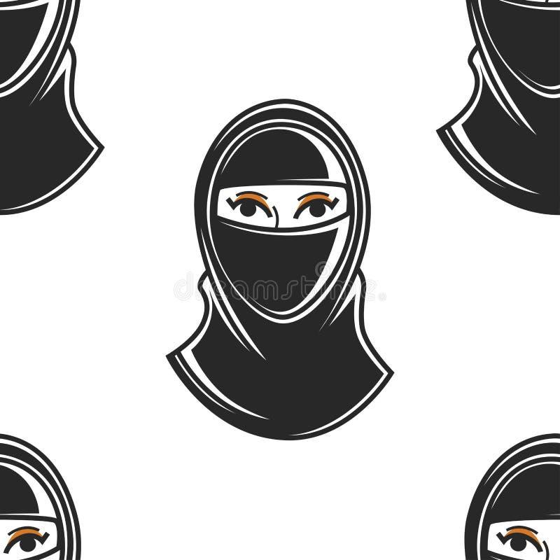 Mulher árabe na fêmea muçulmana do teste padrão sem emenda do hijab na roupa tradicional ilustração royalty free