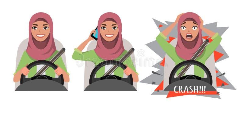 Mulher árabe que conduz um carro Mulher que conduz um carro que fala no telefone A mulher teve um acidente crash ilustração royalty free