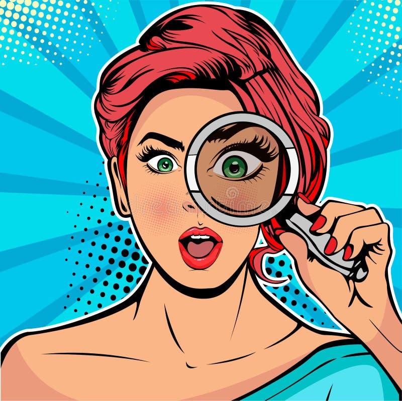 A mulher é um detetive que olha com a busca da lupa Ilustração do pop art do vetor ilustração stock