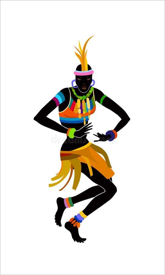 Mulher étnica do africano da dança ilustração royalty free