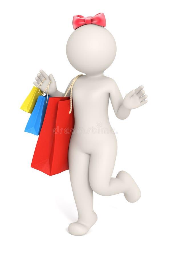mulher 3d ou menina com saco de compra ilustração royalty free